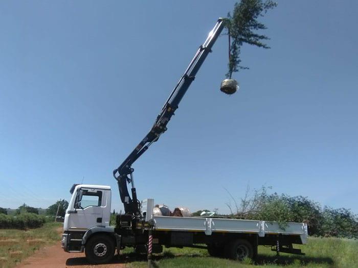 crane truck side